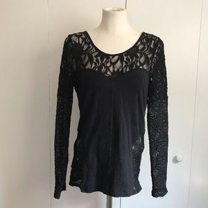 Free People Sweaters - Free People black lace sweater top